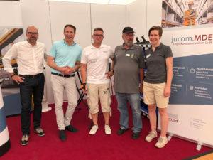 Messestand von jucom auf der Gewerbeschau in Neunkirchen mit Andreas Oehm, Bernhard Baumann, Achim Greis, Wolfgang Seibel und Nicola Spreemann
